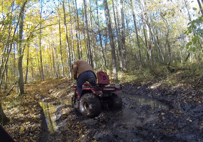 Big Red Digging Some ruts