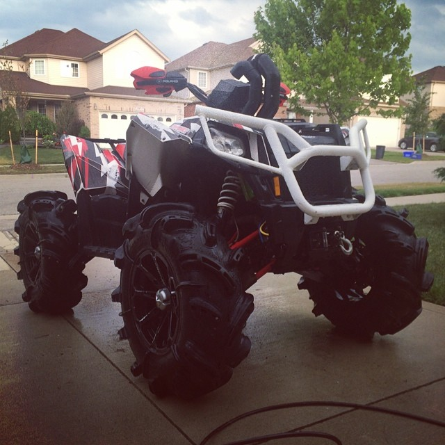 All washed up. Ready for the next mod. Pulling her off the trails for a couple weeks. #swampdonkeys #polaris #scrambler850 #catvos #gorillaaxle #silverbacks #amrracing
