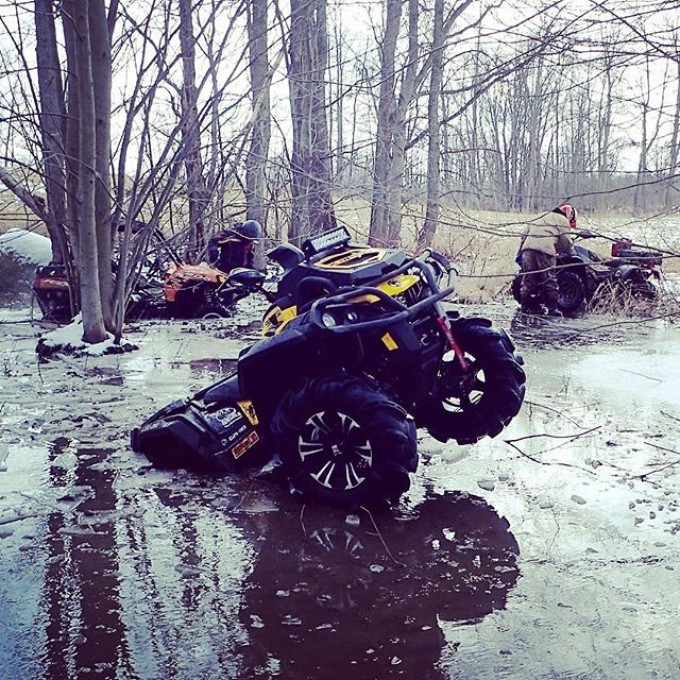 Ice is getting thin. Spring is coming. 2015 #canam #outlander #xmr #800r #signsgaloreinc #tigertail #angeleyes #rigidindustries #gorillaaxle #GLATV #swampdonkeys