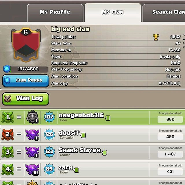Looking for active CoC players to join. #Honda #bigred #swampdonkeys