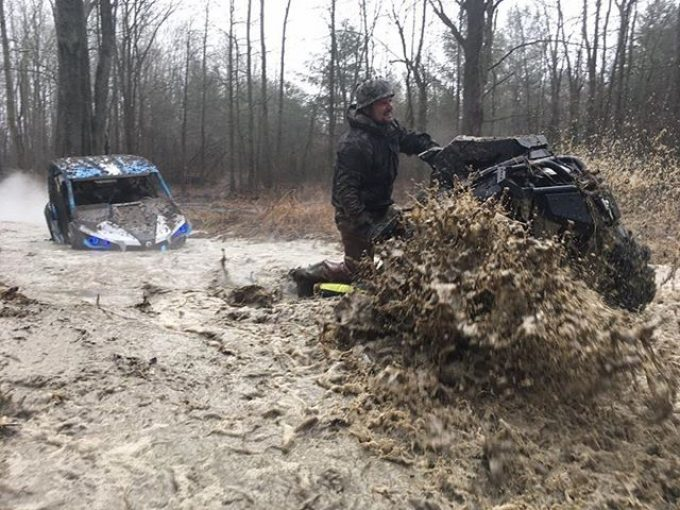 @Martin_G_Ace and @cMikey42 traversing the #water and #mud at #Hawksnest on their #CanAmMonsters #MaverickXMR #1000 #canam #XMR #GorillaAxle #SwampDonkeys
