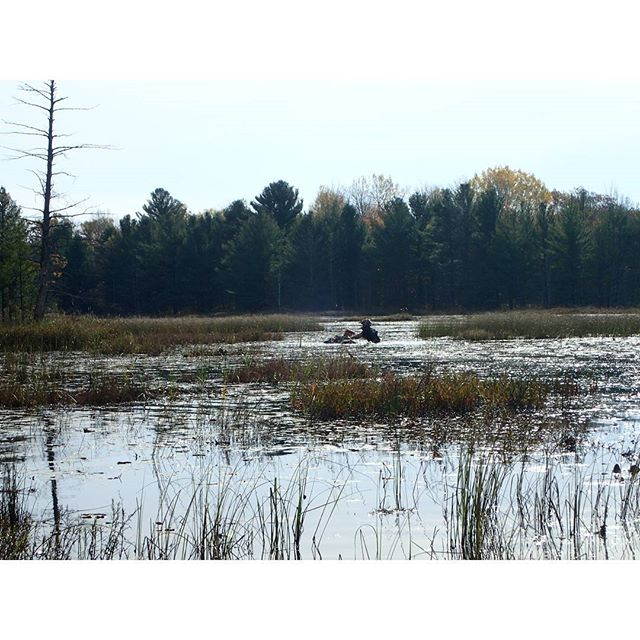 @mr._lifter doing what he does best. Looking for new #trails out in the middle of a #lake #Polaris #sportsman1000 #Highlifter #SwampDonkeys
