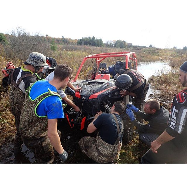 Inspecting the #damage #anyoneseenmybumper #swampdonkeys  #CanAmMonsters  #MaverickXMR #1000 #canam #XMR #GorillaAxle #SwampDonkeys