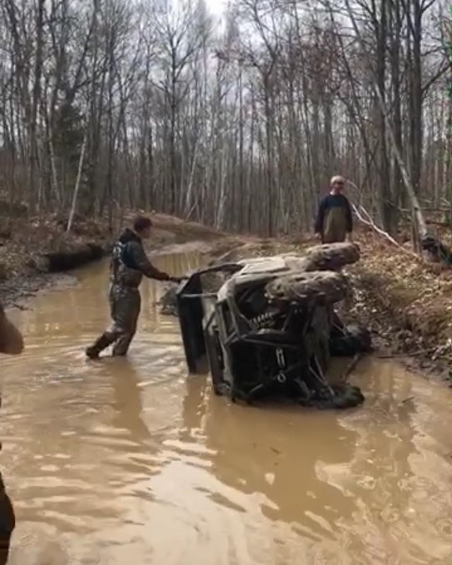 #rzr down. Danger Dave sent it. #polaris #trail #sxsflip #swampdonkeys